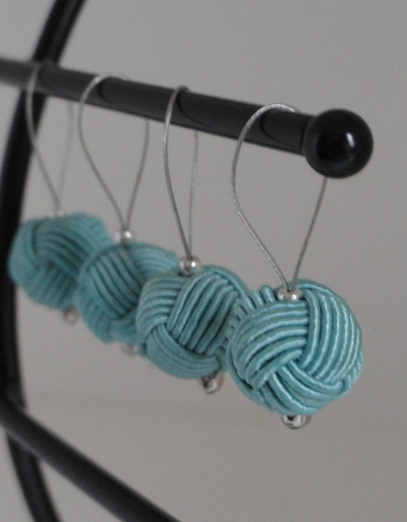 Set of 4 Light Blue Yarn Ball No Snag Stitch Markers