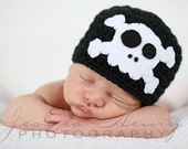 Skull Beanie Hat - Skull and Crossbones - Skully Hat -  Skull Hat - Pirate - Black and White - Photo Prop - Made to Order