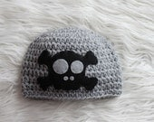 Skull and Crossbones Beanie Hat - Punk Rock Pirate - Gray and Black  - Made to Order