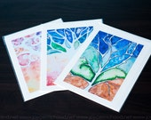 Abstract Watercolor Tree Series - Set of 3 Note cards