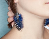 RESERVED for LAZETTE: Feather Earrings - Blue and white dangle spotted guinea feathers