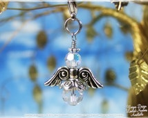 Crystal Angel Charm - Zipper Pull, Pendant Necklace, Key Chain Charm