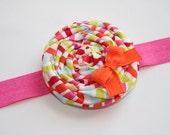 Rolled Fabirc Flower Headband - The Callie - Bright Stripes