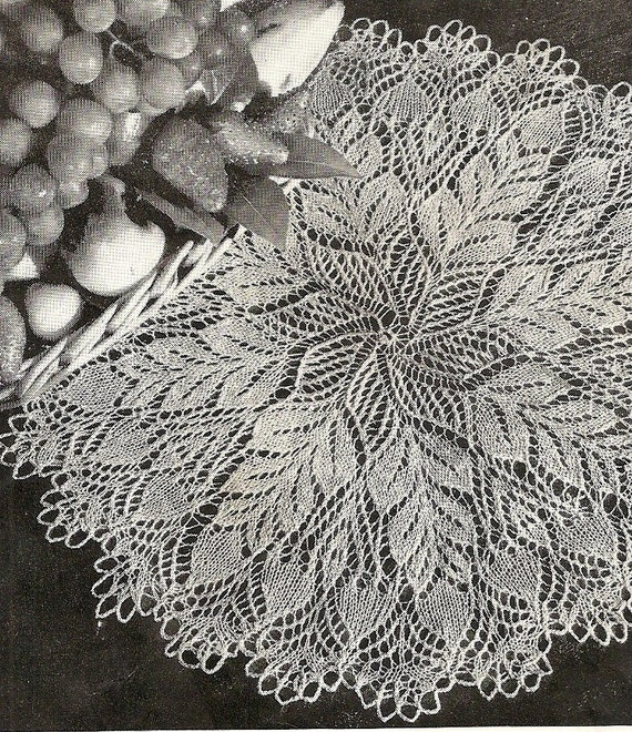 Pine Cone Knitting Pattern : Items similar to Pine Cone Knit Doily - Instant Download Digital File - Vinta...