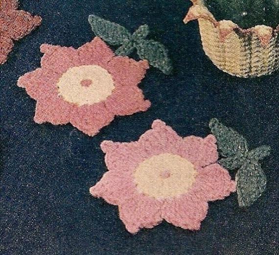 VINTAGE CROCHET PATTERN PDF FLOWER COASTERS by charmingcrochet