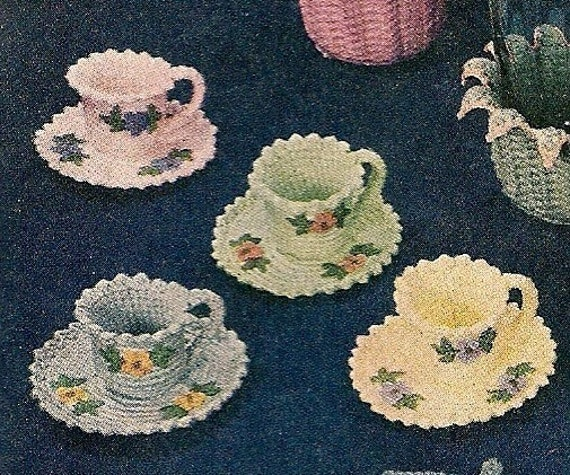 Tea Cups and Saucers - Instant Download Digital File - Vintage Crochet Pattern - Pattern 71