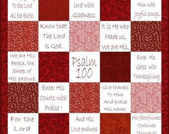 SHOUT JOYFULLY --- Hand Embroidery Pattern Psalm 100 Printable Download Pdf DIY Free Shipping Redwork Primitive Shabby Chic Text Stitchery