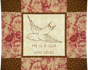 GOD CARES Pillow --- Hand Embroidery E-Pattern Printable Download Pdf Diy Free Shipping Easy to Do Victorian Bird Prim Christian Home Decor