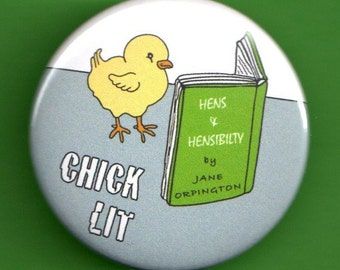 Easter Chick Lit baby chicken reading Jane Austen button 1.75 inch pin