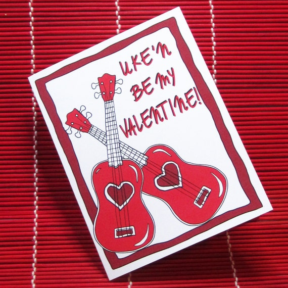 items similar to ukulele valentine card 39 uke 39 n be my. Black Bedroom Furniture Sets. Home Design Ideas