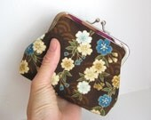 Coin Purse in Asian Brown, Blue and Gold Floral