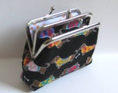 Black Dachshunds Weiner Dog 2-Compartment Coin Purse