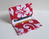 Business Card Holder. Credit Card Holder. Transit Card Holder. Bus Pass Holder. ID Card Holder - Red and White Hibiscus