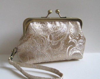Small Wristlet/Clutch in Gold and Cream Brocade