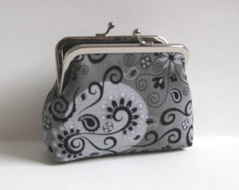 Medium Coin Purse in Silver and Gray with Black Swirls