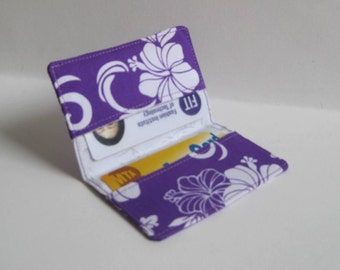 Business Card Holder. Credit Card Holder. Transit Card Holder. Bus Pass Holder. ID Card Holder - Purple and White Hibiscus