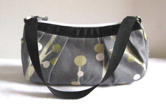 Small Pleated Shoulder Bag in Gray with Green, Gold and White Branch