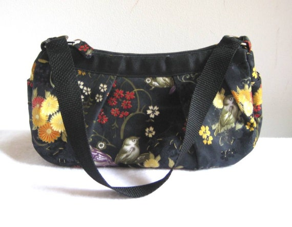 Small Pleated Shoulder Bag in Black Asian Print with Birds