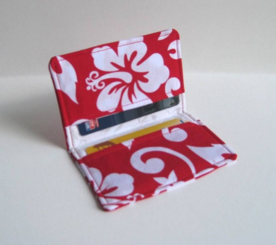 Credit Card, Business Card Holder - Red and White Hibiscus