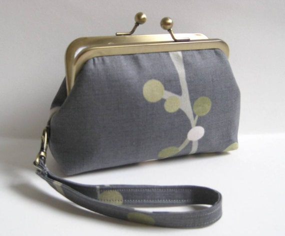 Small Clutch/Wristlet in Gray with Green, Gold and White Branch