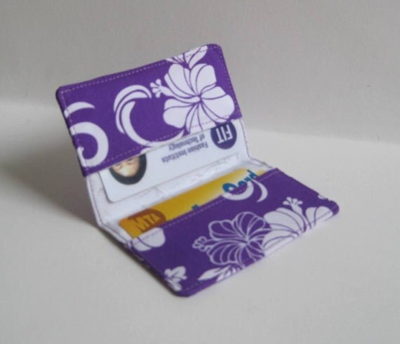 Credit Card, Business Card Holder - Purple and White Hibiscus