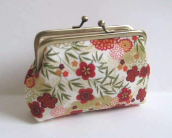 Medium Coin Purse with Asian Flowers