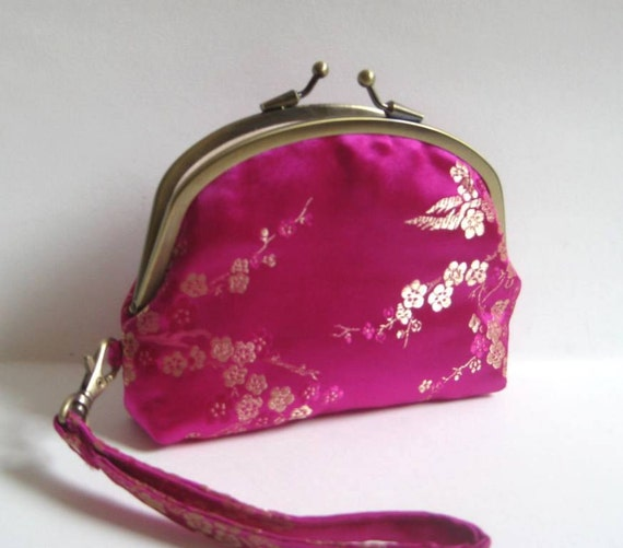 Double Frame Wristlet in Bright Pink Chinese Brocade