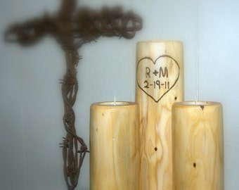 3 Baby Bottom Smooth Candle Holders-Personalized FREE-Tea light Candle Holders-Unity candle holder sets