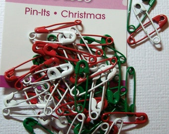 50 Christmas Themed coiled safety pins for Crafts Close-out