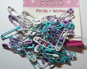 Package of 50 COLORED Safety Pins in WINTER COLORS Close-out
