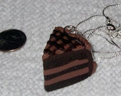 Triple Chocolate Layer Cake with Cocoa Fudge Drizzle Necklace / Pendant