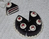 Chocolate Cherry Black Forest Cake Slice Necklace / Pendant