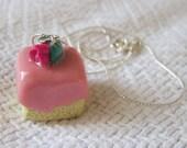 Square Pink Rosebud Petit Four Neckace / Pendant