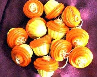 Orange Slice Topped Orange Vanilla Cupcake Necklace / Pendant