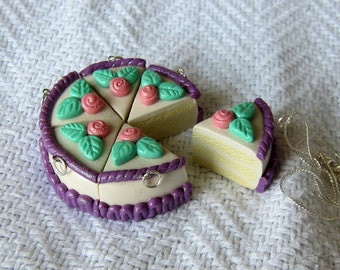 Vanilla Layered Birthday Cake with Pink Roses and Purple Frosting Necklace / Pendant