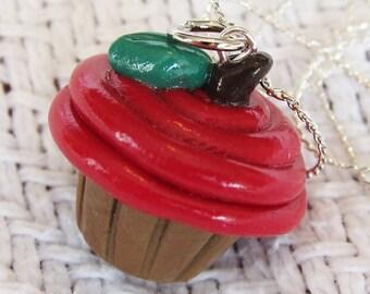 Ripe Red Apple Cupcake Necklace / Pendant
