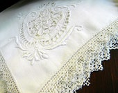 Antique Linen Napkins White on White Embroidery Pulled Lace Window and Needle Lace Edging Damaged 7113