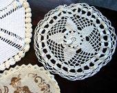 3 Beautiful Assorted Vintage Crochet Lace Doilies 4766