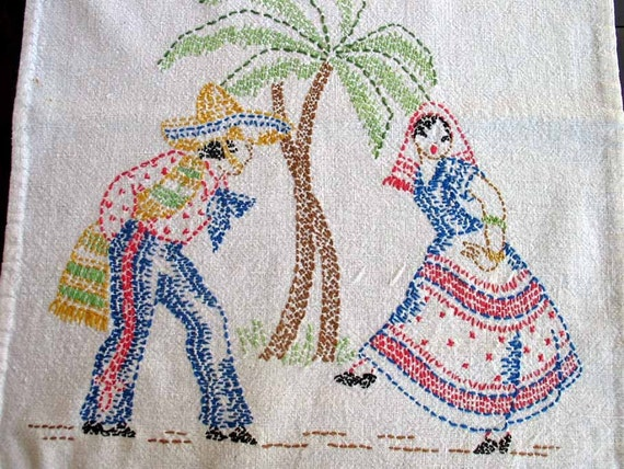 Vintage Linen Embroidered Mexican Theme Table Runner Item 1863