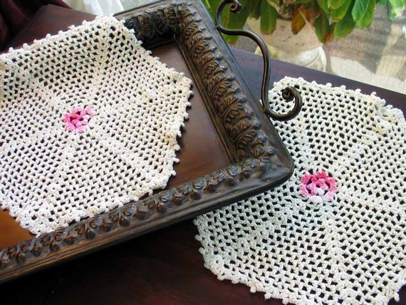 Pair Vintage HexagDoilies Off White Pink Centers 2182