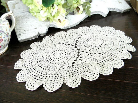 Vintage Crochet Doily Lacy and Lightweight - Oval 7347