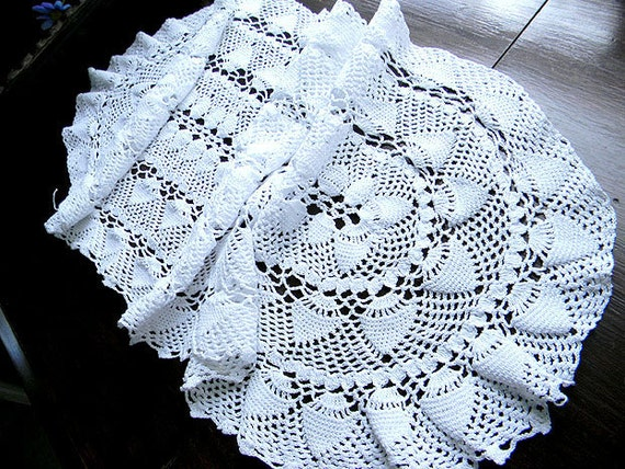 Crochet Lace Table Runner or Table Scarf in White 7486