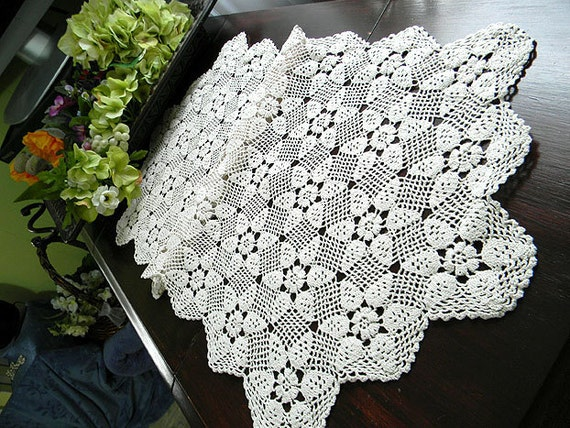 Crochet Lacy Table Runner or Table Scarf in a Medium Ecru 7604