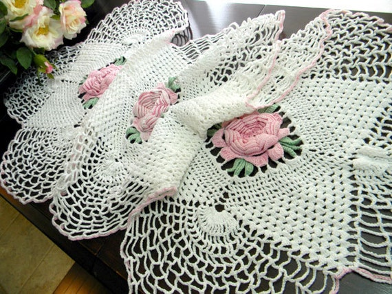 Crochet Table Runner - Pink Raised Roses - Crocheted Centerpiece or Large Table Scarf 7682