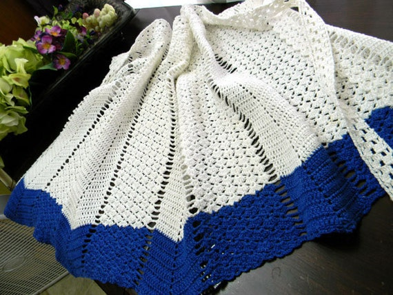 Crocheted Half Apron or Pinny - Blue and White Tie Waist 7795