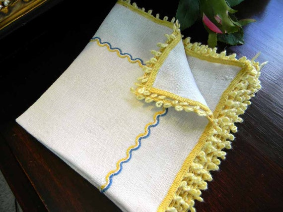 3 Matching Linen Tea Napkins with Gold and Blue Stitching 4708