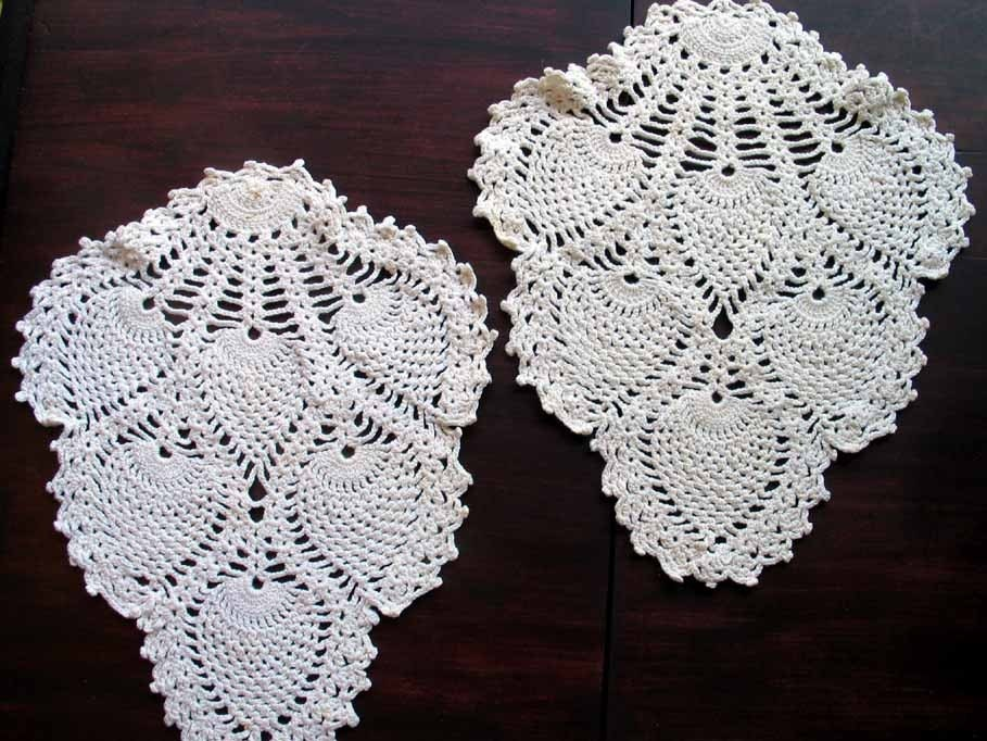 Vintage Armchair Doilies-Pineapple Pattern Off-White 1660