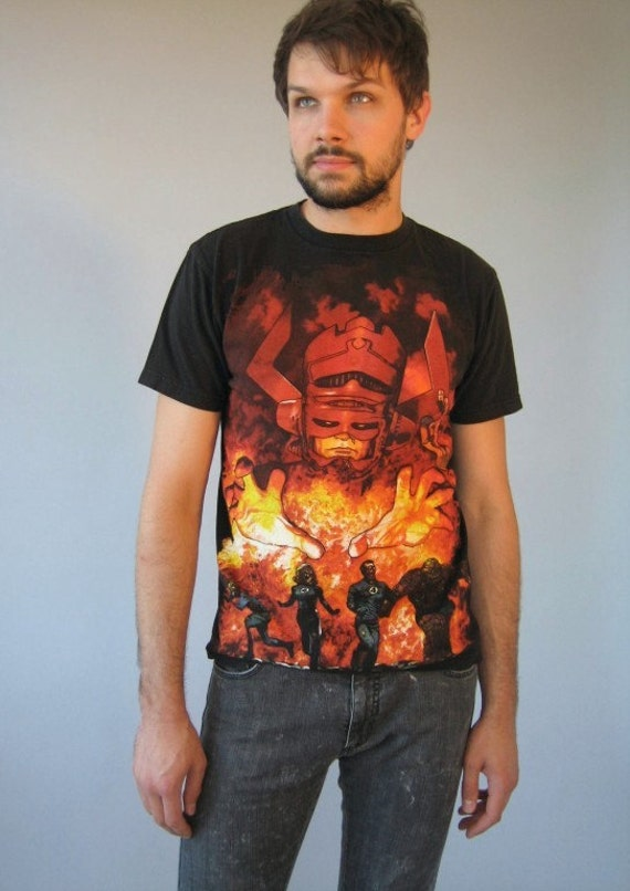 Vtg 90's Comic Graphic T Shirt Zombie Fantastic 4 Wow