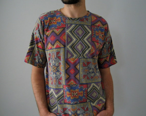 geometric tribal pattern t shirt medium by nakedvintage on