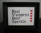 Real Vampires Don't Sparkle - White - Framed Cross Stitch
